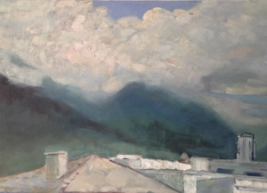 i tetti di QUITO ,Ecuador 90x60 cm olio su tela 2018