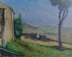 giardino Palazzo R  olio su tela 50X60 CM Italia 2019