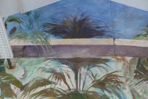 detail  fresco secco   tempera su legno 1990 Anglars-Juillac Francia