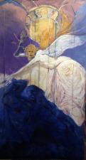 fresco nel palazzo  tempera su legno ;''l'angelo vendicatore'' 200x110cm 2019