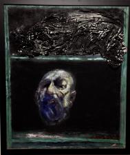 autoritratto olio e pigmenti nero e collage su tela 2018
