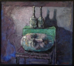 ''natura morte e testa '' pigment e olio su tela   2020