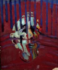 Autoritratto 46x50 cm  serie Covis 19 /VI tempera e olio su tela 2020 venduto coll, Jamet Francia