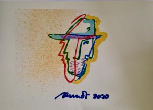 autoritratto con capello ,45x30 cm print 2020