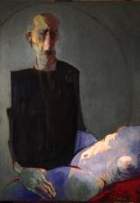 """""""autoritratto con nuda come paesaggio ivernale""""  140x100 cm olio su tela 2020"""