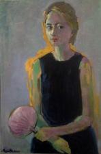 ritratto di ragazza con ventilatore  -olio su tela 70x90cm venduto collezione M.J. Francia